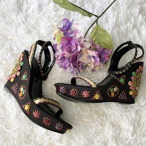 Sam Edelman Button Embroidered Wedge Sandals